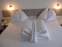 Bed origami. Design arts hotel inspiration indoor-arts creativity extravagance originality Stock Photography