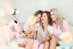 Bed party stock image