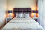 The bed is perfectly made Royalty Free Stock Photo