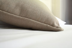 The bed with pillow close up Stock Photography