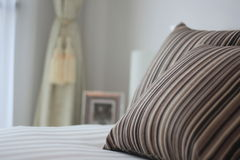 Bed and pillow closeup Royalty Free Stock Image