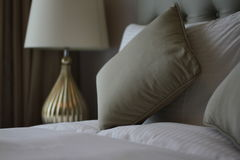 Bed and pillow closeup Stock Image