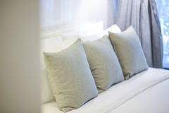 Bed and pillow. In home Stock Image