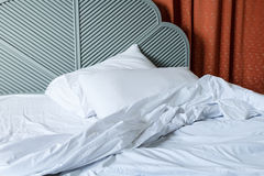 Bed and pillow. After used in bedrom Stock Photo