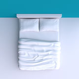 Bed with pillows and a blanket in the corner room, 3d illustration. Stock Photos