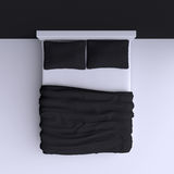 Bed with pillows and a blanket in the corner room, 3d illustration. Top view Stock Photos