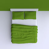 Bed with pillows and a blanket in the corner room, 3d illustration. Top view Royalty Free Stock Photos