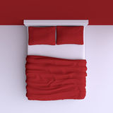 Bed with pillows and a blanket in the corner room, 3d illustration. Top view Stock Image