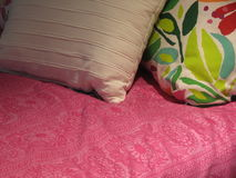 Bed and pillows detail Stock Photo