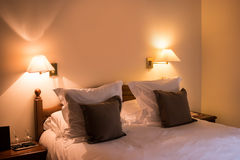 Bed with pillows. Stock Photography