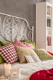 Bed with pillows royalty free stock photos