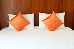 Bed, pillows in resort room Stock Photo