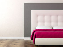 Bed with pink blanket Royalty Free Stock Photo