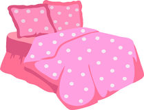 Bed With Pink Blanket and pillow Stock Image