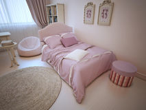 Bed in provence styled bedroom Stock Photography
