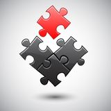 Bed puzzle. One red puzzle with three black. eps10 Royalty Free Stock Photography