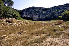The bed of the river Gardon completely dry Stock Image