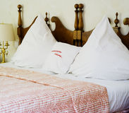 Bed in romantic spa hotel Stock Photos