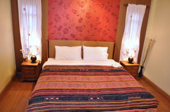 Bed room. As night and lighting view Stock Image
