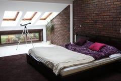 Bed room. Interior. Brick wall Stock Photo