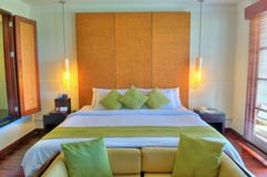 Bed room. Luxery resort bed room, interior Stock Photo