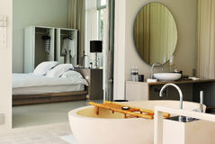 Bed room and bathroom Stock Image