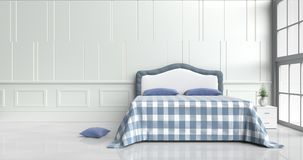Bed room in happy day. White bed room decorated with ,tree in glass vase, light blue pillows, white wood bedside table, table blue blanket, Window, blue-white Royalty Free Stock Photo