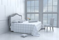 Bed room in happy day. White bed room decorated with tree in glass vase, pillows, white blanket, Window, sky, Lamp,White wall it is pattern,chair, The sun Royalty Free Stock Photography