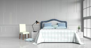 Bed room in happy day. White bed room decorated with tree in glass vase, red pillows, white wood bedside table, table light blue blanket, Chair, Window, White Royalty Free Stock Photos