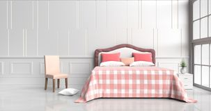 Bed room in happy day. White bed room decorated with tree in glass vase, red pillows, white wood bedside table, table red-orange blanket, chair, Window, White Royalty Free Stock Photo