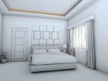 Bed room interior wire frame. 3D rendering of a bed room. It`s a conceptual design Stock Photo
