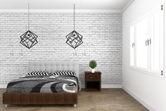 Bed room modern style with wooden floor and brick wall background. 3D rendering. Mock up bed room modern style with wooden floor and brick wall background. 3D stock illustration