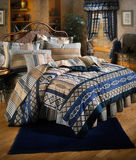 Bed room set with bedding Stock Photos