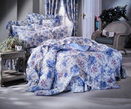 Bed room set with bedding Royalty Free Stock Photo