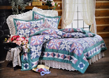 Bed room set with bedding Stock Photography
