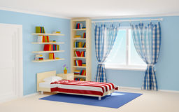 Bed room striped and books. Bed room with striped bed and bookshelves. 3d illustration Stock Photography