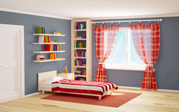 Bed room striped and books. Bed room with striped bed and bookshelves. 3d illustration Royalty Free Stock Photography