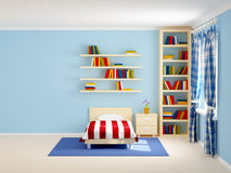Bed room striped and books. Bed room with striped bed and bookshelves. 3d illustration Stock Images