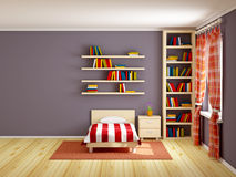 Bed room striped and books. Bed room with striped bed and bookshelves. 3d illustration Royalty Free Stock Image