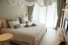 Bed room at Thailand resort hotel Royalty Free Stock Image