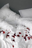 Bed with rose petals Royalty Free Stock Photo