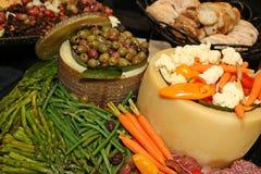 bed savory mellanmål för ljusbruna för oststugagrönsallat räkor för deltagaren Royaltyfria Bilder