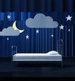 Bed on scene. Dream/night metaphor Stock Photo