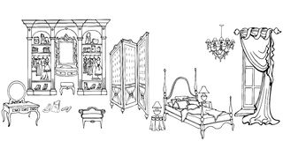 Bed screen wardrobe 90 45. Set outline for an elegant bedroom furniture in an old style with wardrobe, skreen, dressing table, bed, vector isolated objects on a Stock Images