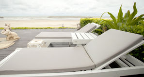 Bed by the sea, the beach to relax on vacation Stock Photography