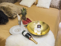 Bed and serving fruits. Bedroom interior, decoration and food Royalty Free Stock Photo