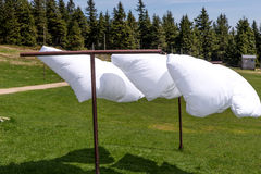 Bed sheet drying in the wind Royalty Free Stock Images
