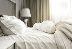 Bed sheet mattress and pillows messed up Bedroom Royalty Free Stock Image