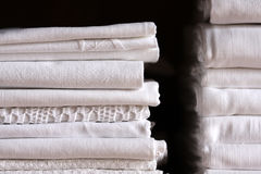 Bed sheet pile royalty free stock image