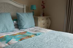 Bed sheet with 2 pillow on bed Stock Images